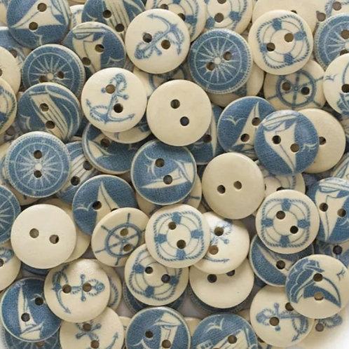 6 un botón de madera marinero 15mm