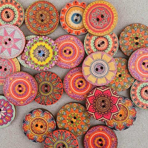 6 un botón de madera diseño Marruecos Rosados 20mm