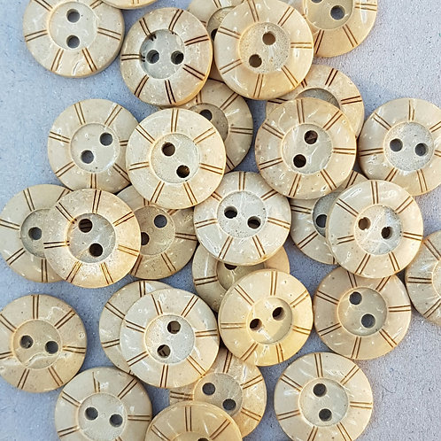 6 un botón Madera Natural Diseño 15mm