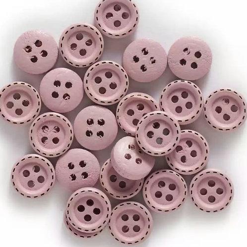 6 un botón de madera palo rosa 10mm