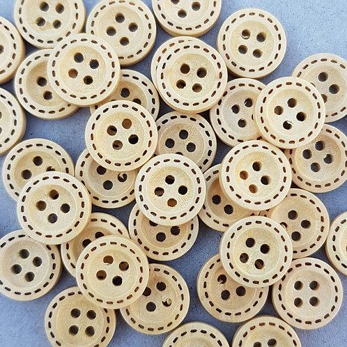 6 un botón Madera Natural diseño 12.5mm