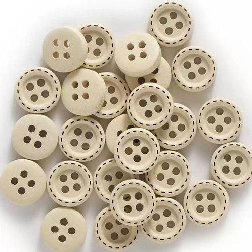 6 un botón de madera crudo 10mm