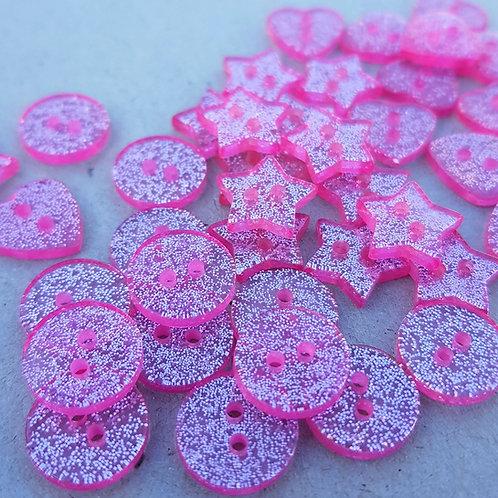 6 un botón Brillo Rosados 15mm