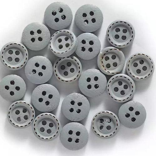 6 un botón de madera gris azulado 10mm