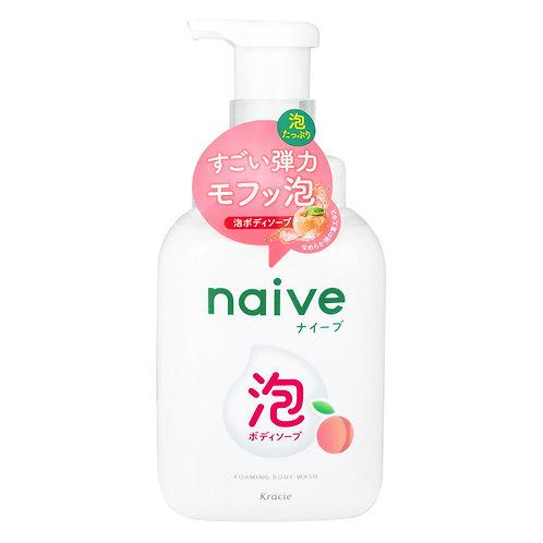 KRACIE NAIVE Body Wash Foam Soap 500ml - Peach Leaf Extract