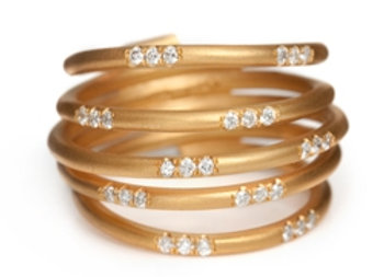 5 Rows gold band Ring
