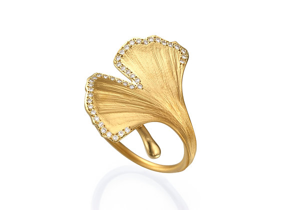 Yellow Gold, Diamonds Ginkgo Leaf Ring