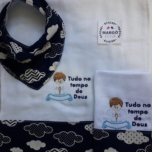 Kit Meia fralda e paninho de boca e babador bandana Anjinho
