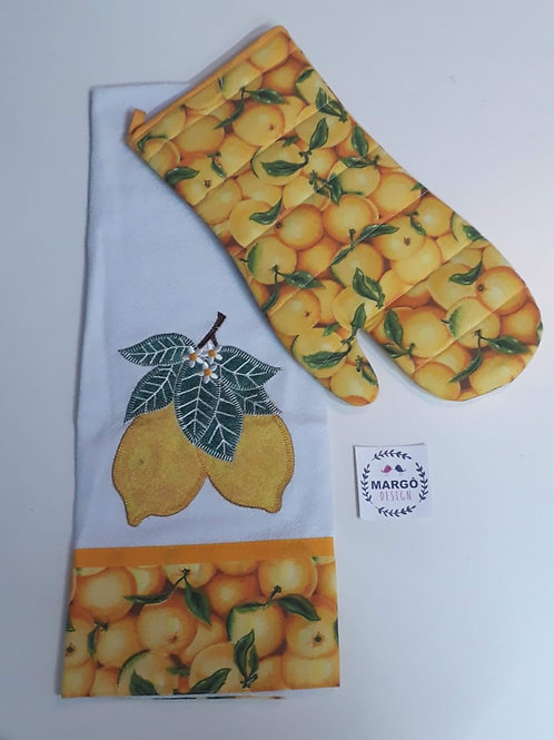 Combo Luva Térmica e Pano de Prato Patchaplique Limão e Laranja