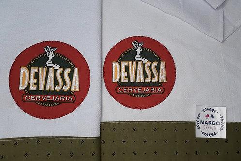 Combo 2 Panos de Prato Patchaplique Coleção Rótulos Cervejas e Bebidas Devassa