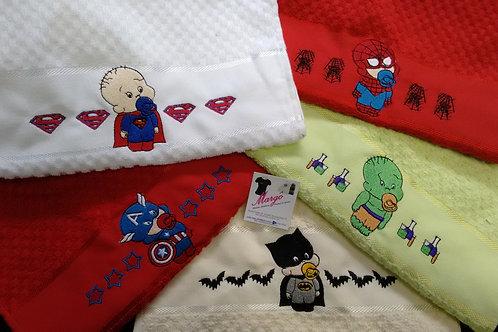 Fralda Bordada Kit 5 meia fralda 3 toalhas de mão