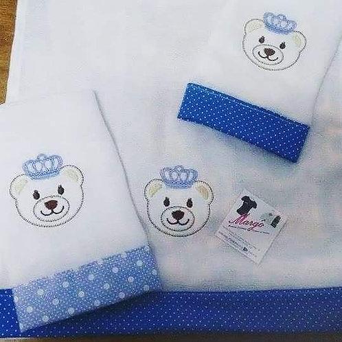 Fralda Bordada Kit Baby Urso Coroa