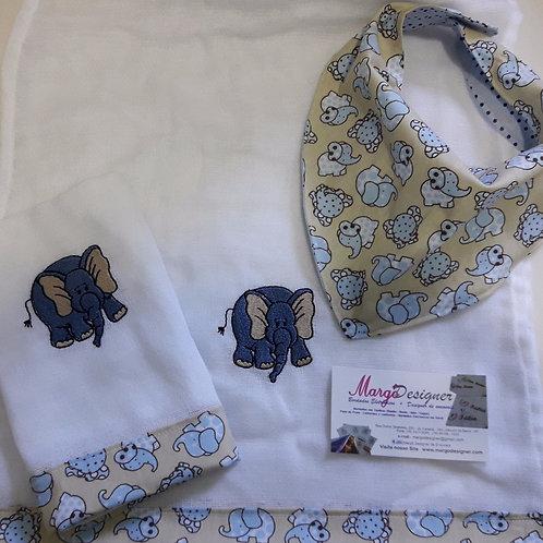 Fralda Bordada Kit com Babador Bandana Safari Elefante