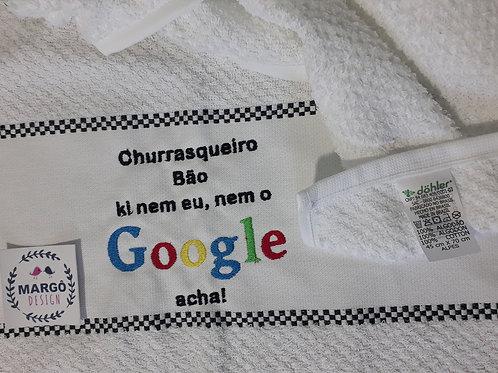 Pano de prato atoalhado bordado Google Churrasqueiro