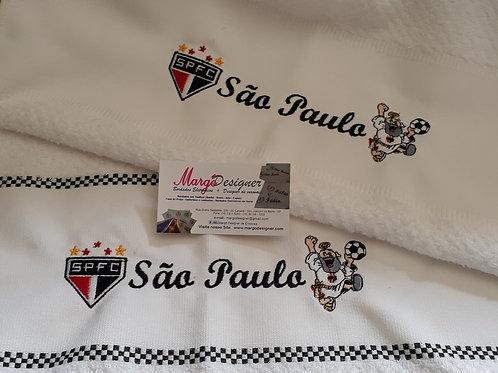 Combo 2 Panos de Prato Atoalhado Bordado Coleção Time Futebol São Paulo