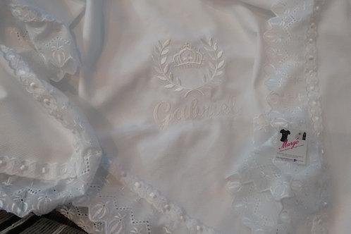 Manta Piquet Bordada Off White