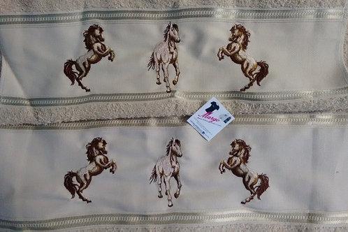 Toalha de Banho Bordada e Rosto Cavalos