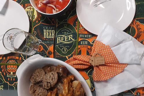 Combo 6 Lugar Americano Retangular Coleção Drink Me Cerveja Ferrugem e Verde