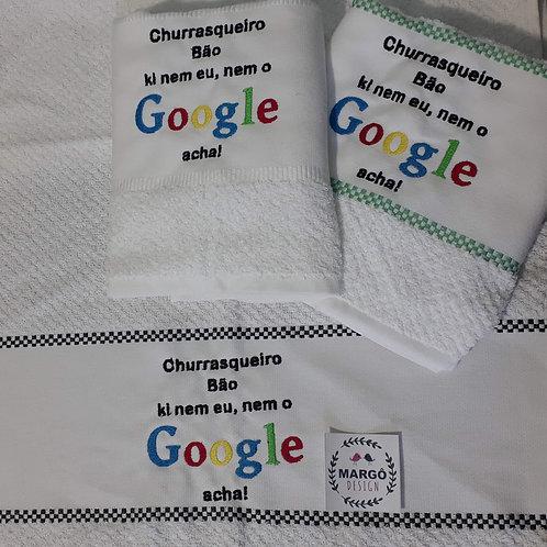 Kit 3 Panos de prato atoalhado bordado Google Churrasqueiro