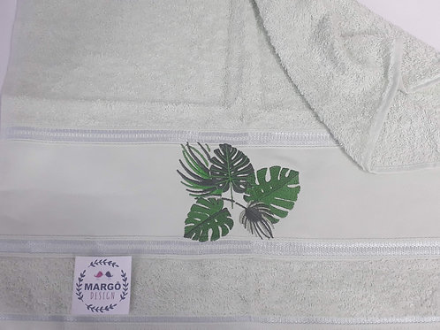 Toalha de Rosto ou Lavabo Bordada Coleção Folhas Costela de Adão