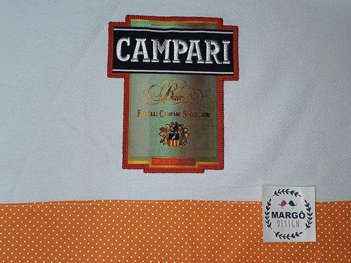 Pano de Prato Patchaplique Coleção Rótulos Cervejas e Bebidas Campari