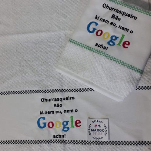 Kit 2 Panos de prato atoalhado bordado Google Churrasqueiro
