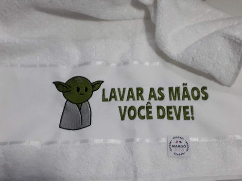Toalha de Rosto ou Lavabo Bordada Coleção Star Wars Baby Yoda