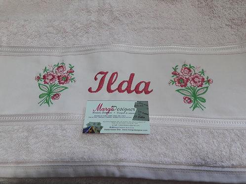 Toalha de Banho Bordada Flores