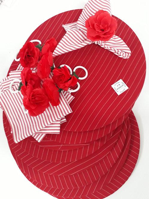 Kit Sousplat Americano Redondo 10 Lugares Rosas Vermelhas
