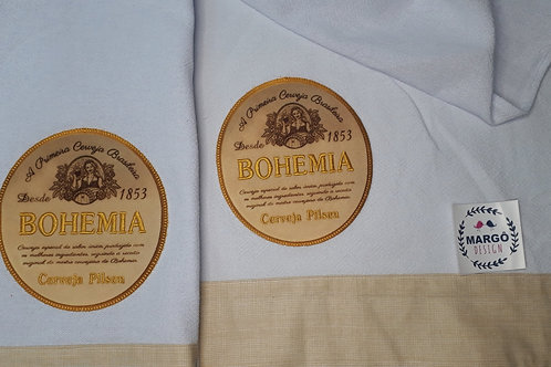 Combo 2 Panos de Prato Patchaplique Coleção Rótulos Cervejas e Bebidas Bohemia