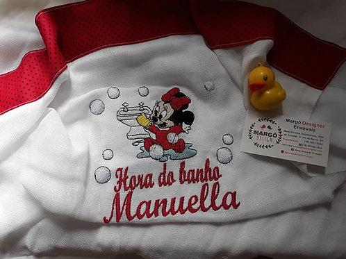 Toalha Banho Fralda Bordada Minnie Baby Disney