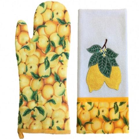 Kit Luva térmica e Pano de prato bordado em Patchwork Limão Siciliano