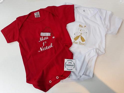 Kit Body Baby Bordada Natal e Ano Novo