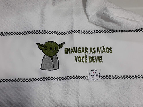 Pano Prato Atoalhado Bordado Coleção Star Wars Baby Yoda