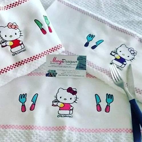 Pano de Prato Bordado Atoalhado Hello Kitty