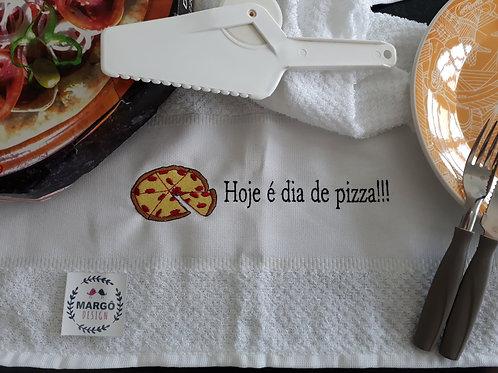 Pano de prato atoalhado bordado Dia de Pizza