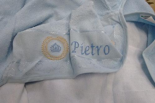 Toalha de Banho Bordada Capuz com fralda Coroa de louros