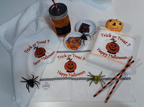 Combo 3 Panos de Prato Atoalhado Bordado Coleção Halloween Abóbora
