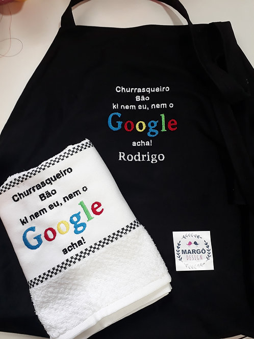 Kit Avental masculino e Pano de prato atoalhado Google
