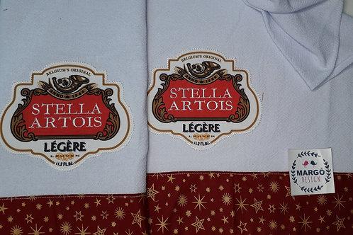 Combo 2 Panos de Prato Patchapl Coleção Rótulos Cervejas e Bebidas Stella Artois