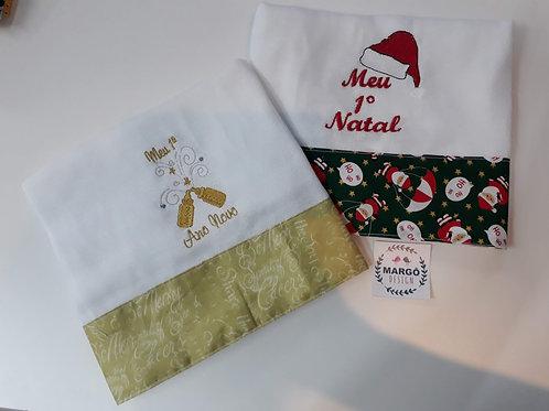 Kit Fralda de Passeio Bordada Natal e Ano Novo