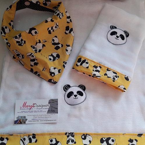 Fralda Bordada Kit com Babador Bandana Panda