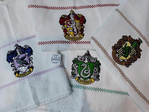 Kit 4 Panos de prato atoalhado bordado Casas de Hogwarts