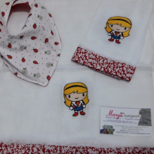 Fralda Bordada Kit com Babador Bandana Super Girl