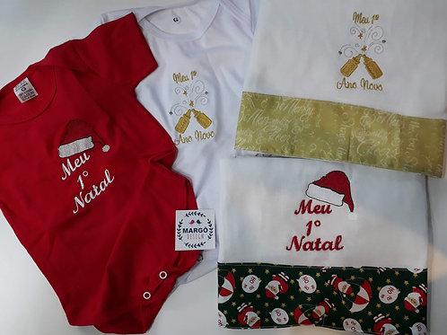 Kit Body Baby e Fralda de Passeio Bordada Natal e Ano Novo