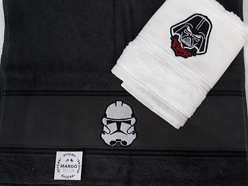 Combo 2 Toalhas de Rosto e Lavabo Bordada Coleção Star Wars Darth Vader e Storm