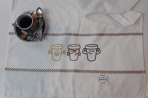 Combo 3 Panos de Prato Atoalhado Bordado Coleção Drink Me Tipos de Café