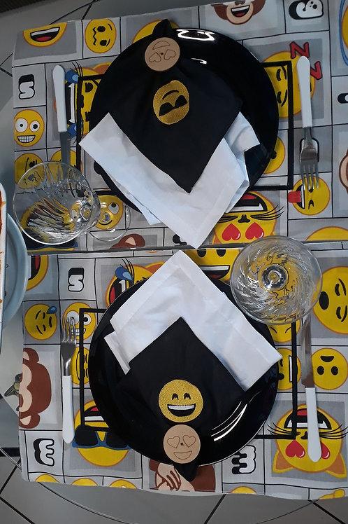 Combo 4 Lugar Americano Retangular Coleção Geek Emojis