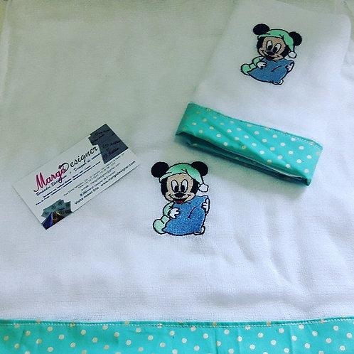 Fralda Bordada Kit Mickey Baby