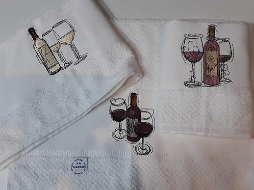Kit 3 Panos de Prato Atoalhado Bordado Vinhos